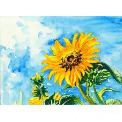 手绘向日葵水粉