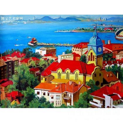 青岛印象系列油画1——青岛建置120周年纪念