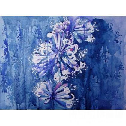 名家 郭力 水彩; - 《蓝色的夜晚》 类别: 水粉画|水彩画 当前 位粉丝