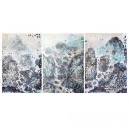 名家 乔博文 国画; - (组合画)山涧鸣泉 山水画 乔博文作品 类别