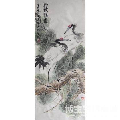 靳朝辉 松龄鹤寿 类别: 国画花鸟作品