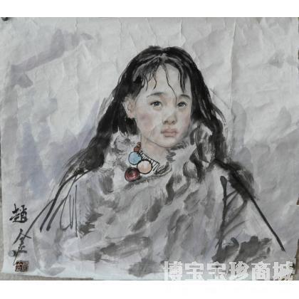 名家 赵金 国画; - 赵金 长发羊皮衣女孩 类别: 国画人物作品 当前 位
