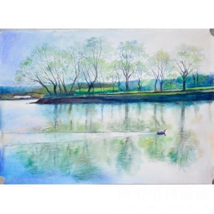 名家 曾令仁 - 曾令仁 《天鹅湖》 类别: 水粉画|水彩画x 当前 位粉丝