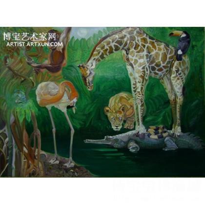 动物乐园 动物油画