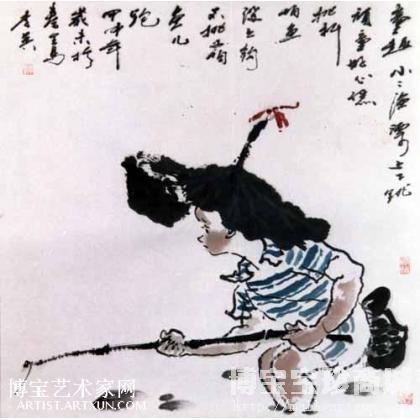 李英写意《童趣》 类别: 国画人物作品图片