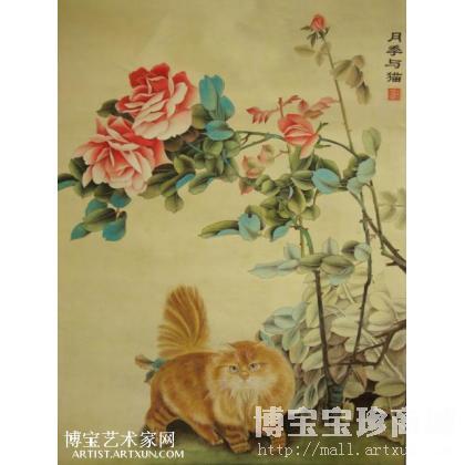 月季与猫 工笔花鸟画 张俊作品 类别: 工笔花鸟画