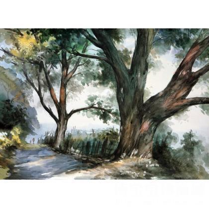 名家 唐星焕 国画;水彩; - 唐星焕 老树的记忆 水彩画 类别: 水粉画