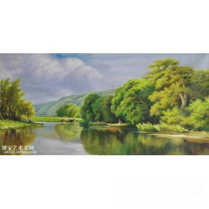本作品是临摹品,水天一色的田园风光使人赏心悦目.