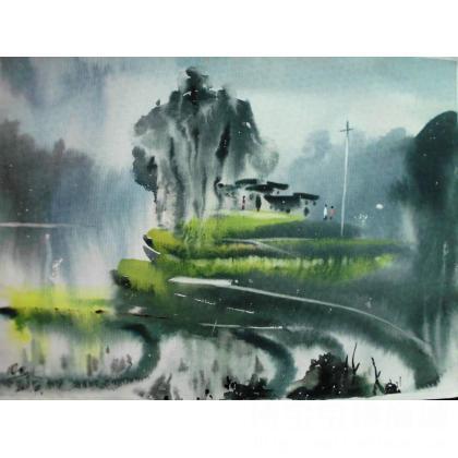 近期水彩风景画,四开,保定水彩纸!我爱我的家乡黔东南!