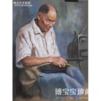 胡立义 色粉画《老鞋匠》 人物画作品 类别: 水粉画|水彩画