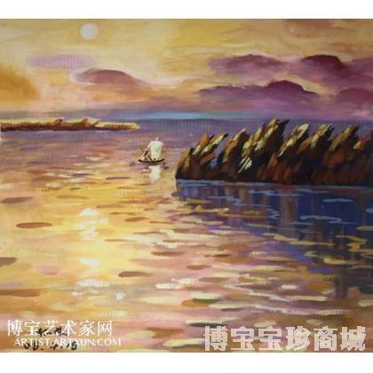 裴松龄 夕阳西下 类别: 水粉画|水彩画