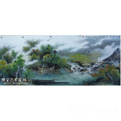 刘国强作品 秋色河湾 山水画 类别: 国画山水作品