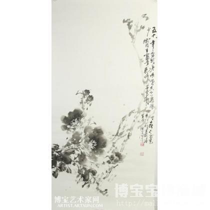 水墨牡丹 花鸟画 李军(笔名:李钧)作品 类别: 国画花鸟作品