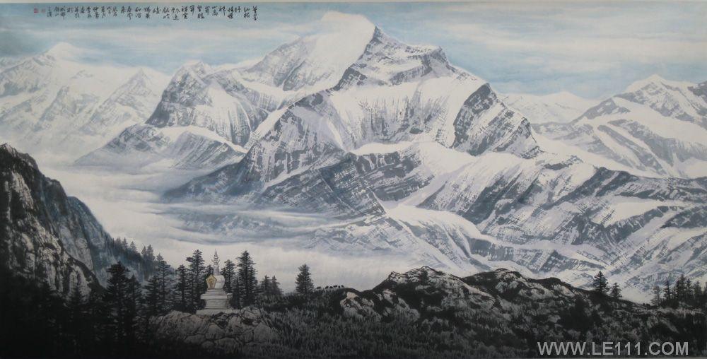 雪山的画法步骤图片