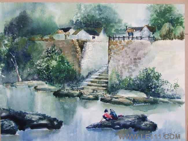 水彩画 风景名家王书凯期权艺术收藏