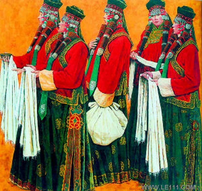 蒙古族妇女手绘作品