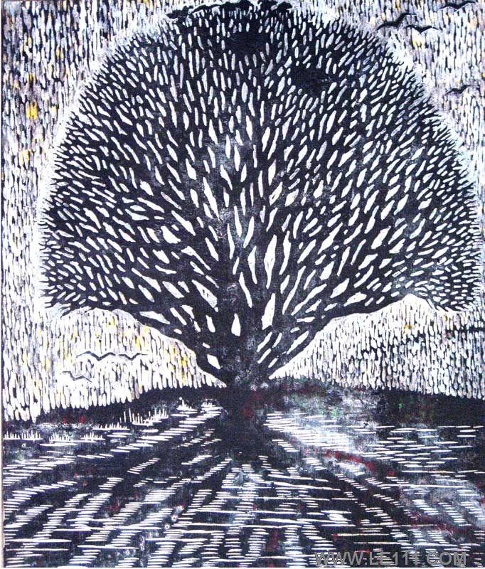 """名家 张平 绘画 国画 - 张平的作品""""树"""" 当前 位粉丝喜爱本幅作品"""