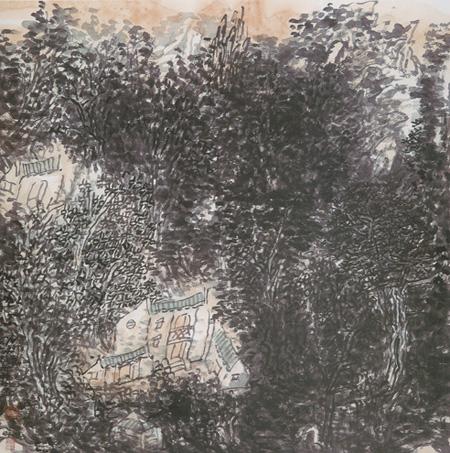 """名家 韩浪 绘画 国画 山水画 - 韩浪的作品""""秋雨过后,夕阳把山林染上"""