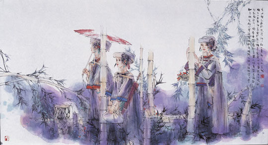 """名家 刘向平 绘画 国画 人物画 - 刘向平的作品""""细雨"""""""