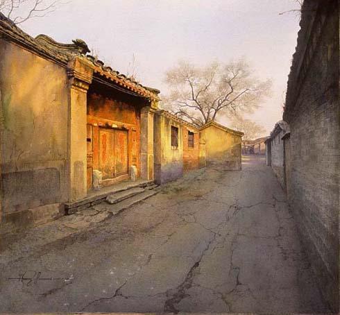 """绘画 水彩画 风景名家 黄有维 - 黄有维的作品""""小巷"""""""