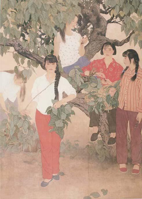 何家英作品欣赏; 何家英工笔人物画;; 朝·露·桑 1997年水墨画 210cm