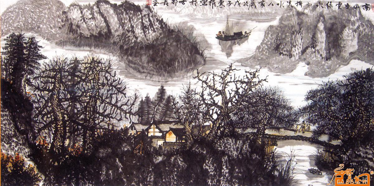 山水名家 惠维 - 作品151高山白云绿水小桥流水人家