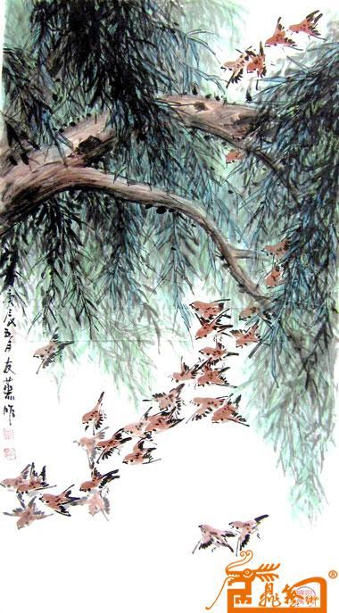 名家 邹友蒸 国画 - 48图《麻雀-柳树》 当前 位粉丝喜爱本幅作品