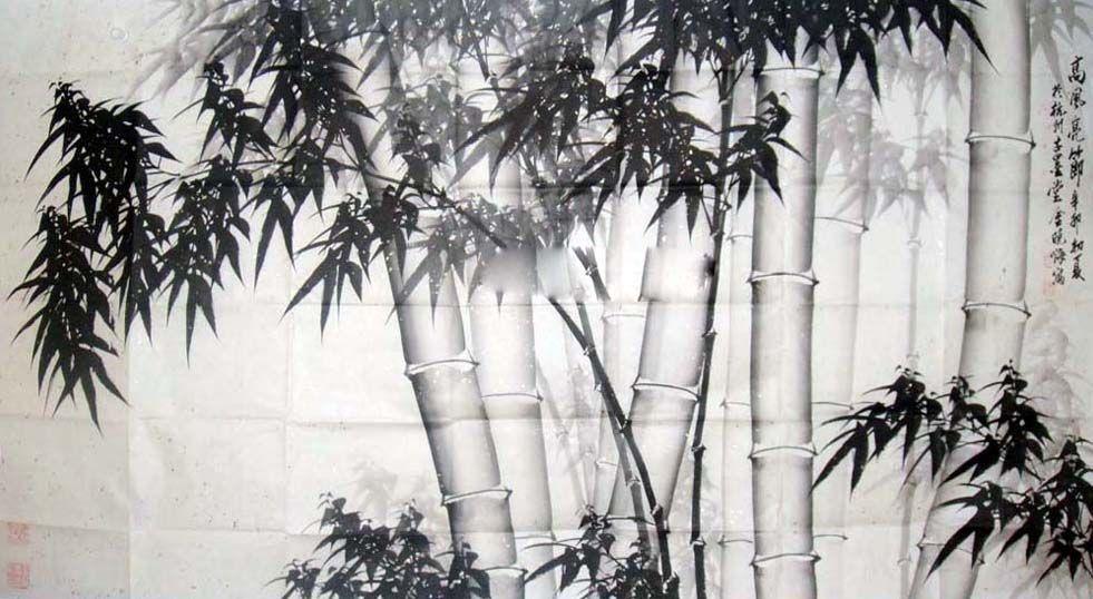 竹子   国画; 金晓海国画竹子; 国画作品 国画家  (981x538)图片