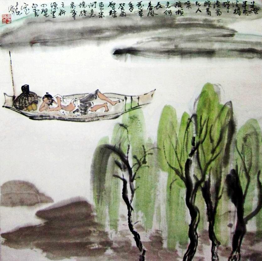 儿童国画山水图片