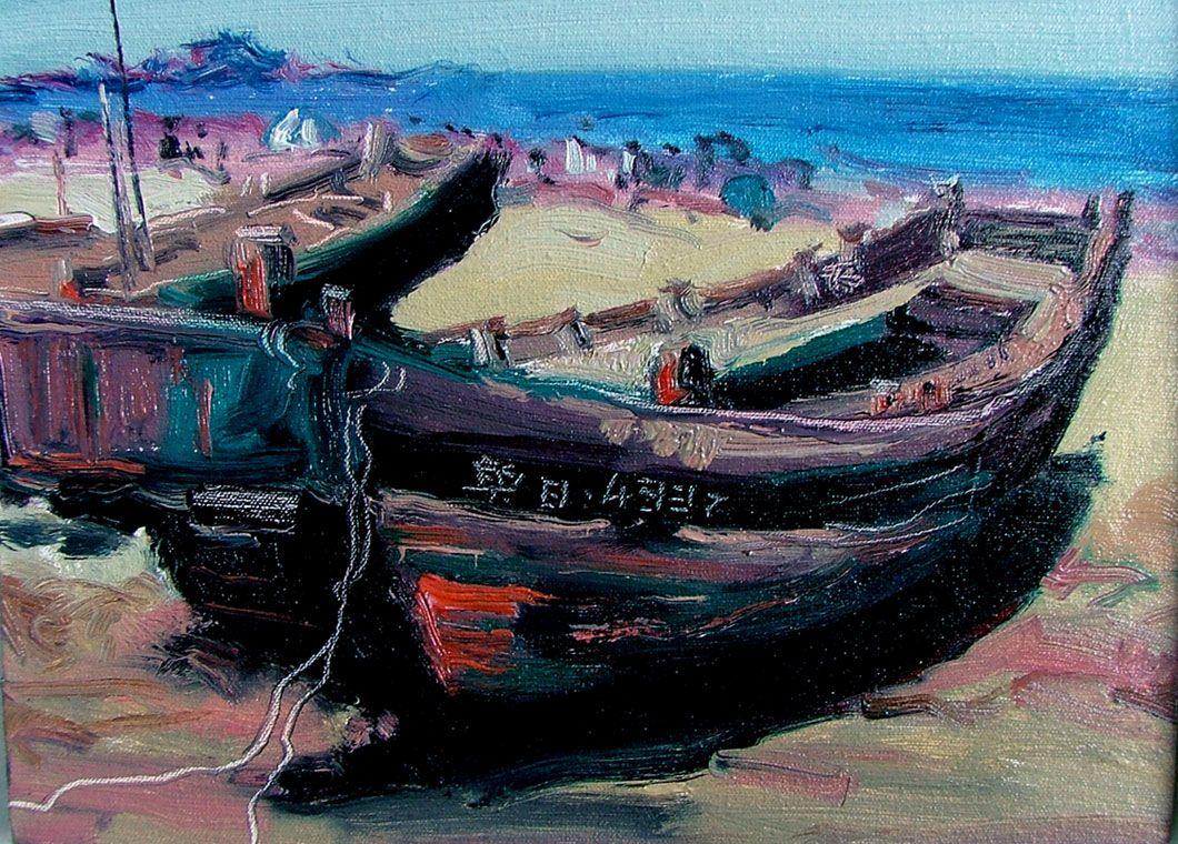 高连保油画作品《风景》保真销售; 版画家,水粉画家,水彩画家,油画家