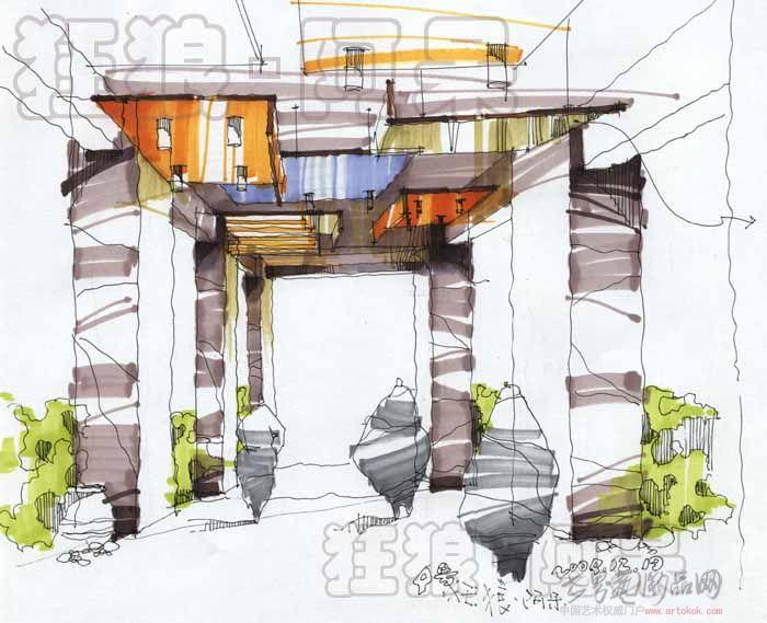 卧室设计立面手绘图; 酒吧手绘图5;