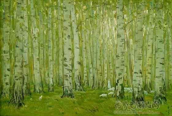 白桦林 布面油画 2000年