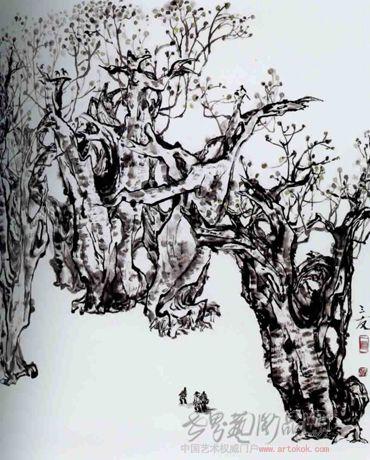 名家 张三友 国画 - 枯木逢春 当前 位粉丝喜爱本幅作品