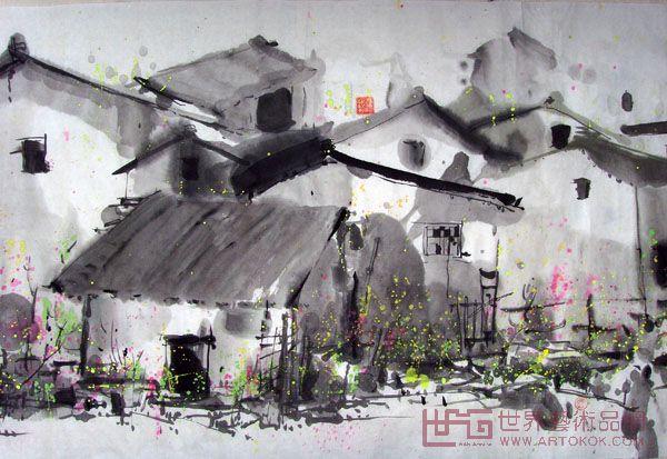山东泰安民居手绘图