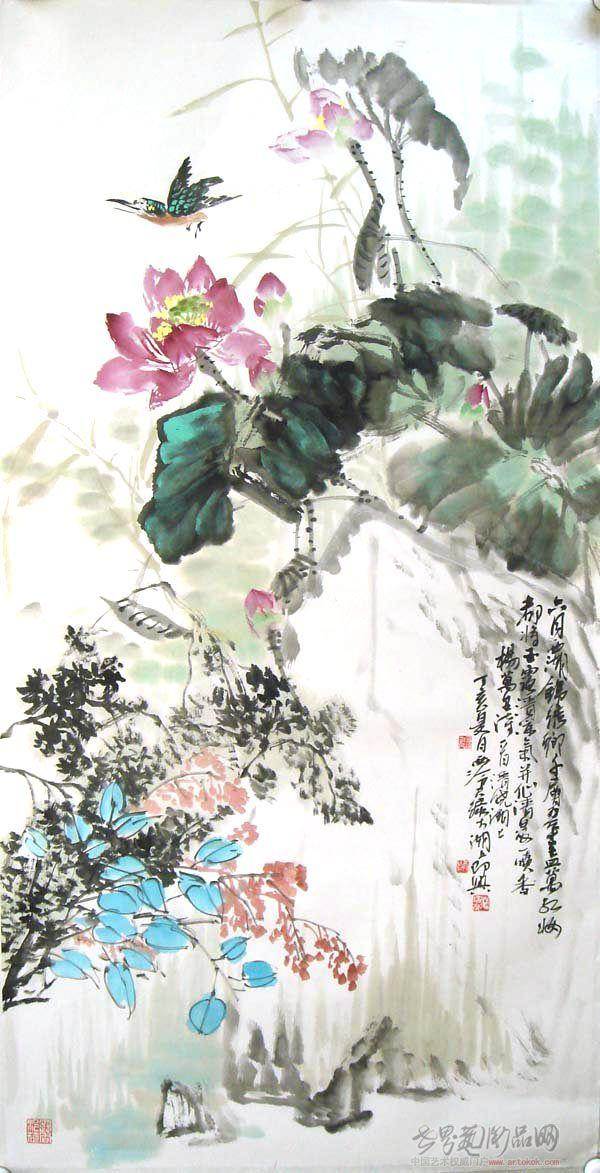 国画名家 潘培荣 - 六月西湖锦绣乡