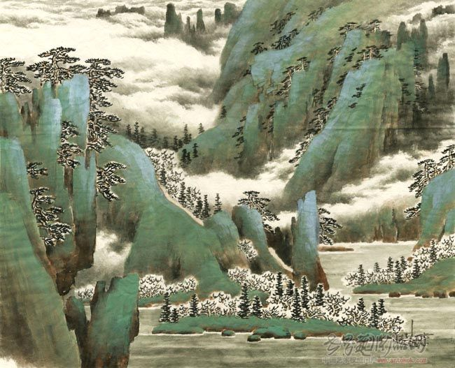 刘有成-课徒稿·桃花谭水图步骤4-淘宝-名人字画