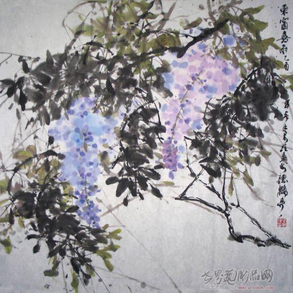 名家 张万琪 国画 - 紫藤花图片