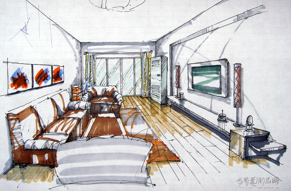 一点透视室内客厅画法