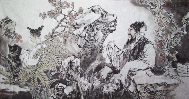 尹建华-品茗图-淘宝-名人字画-中国书画服务中心,中国