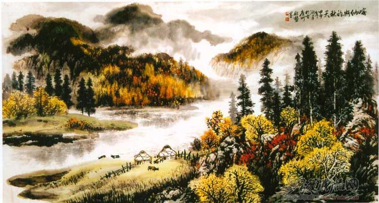 名家 周殿鳌 国画 - 喀纳斯的秋天 当前 位粉丝喜爱本幅作品