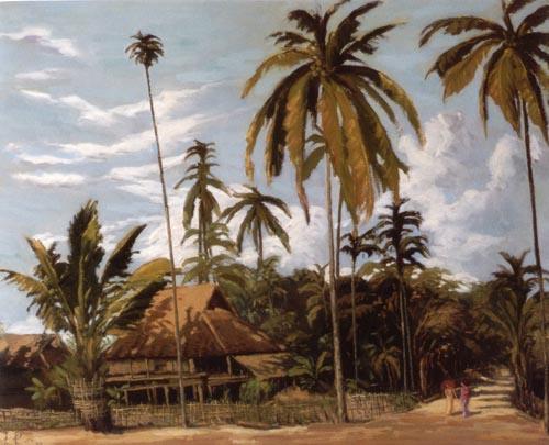 椰子树油画怎么画