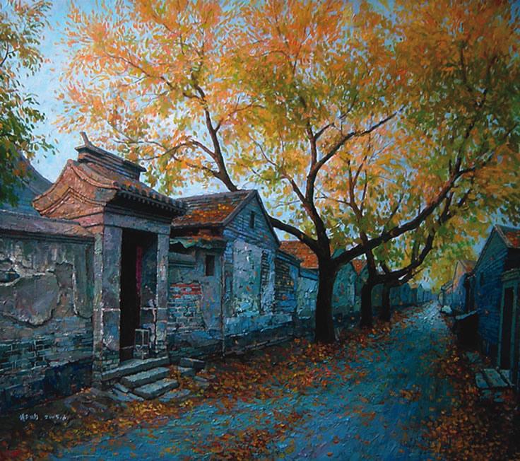 老北京胡同 油画风景