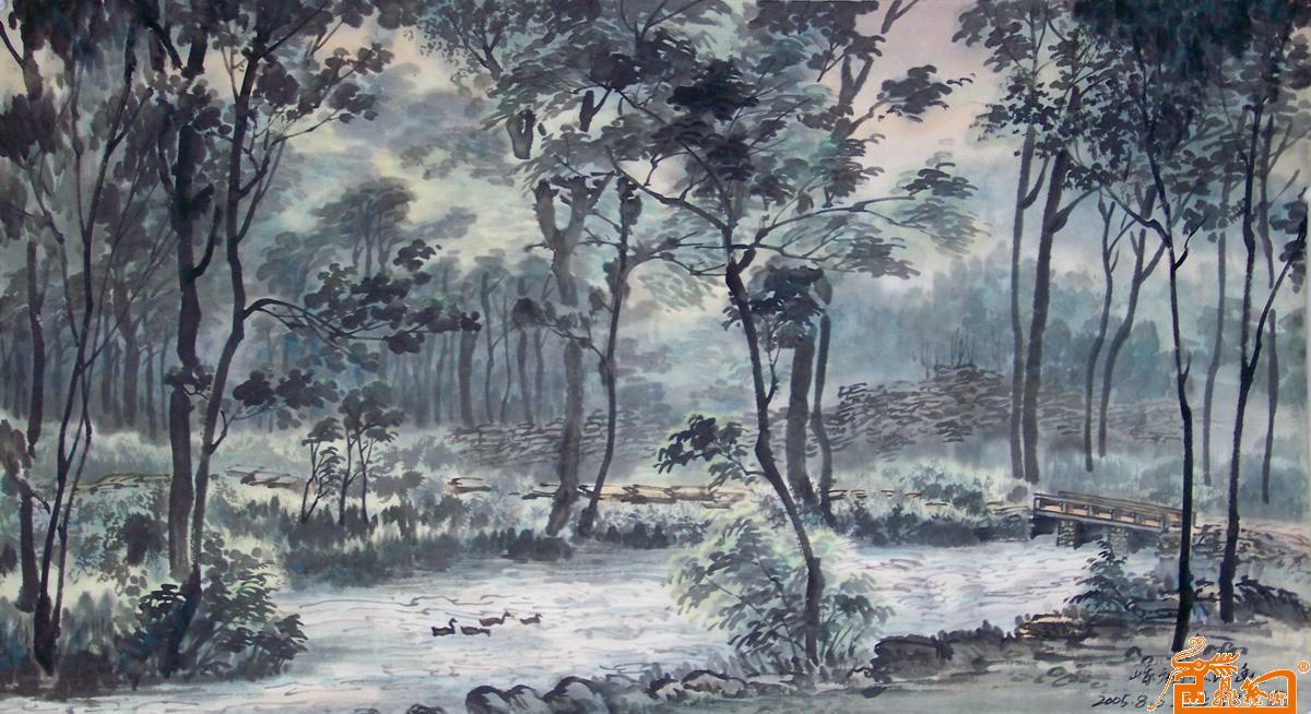树 油画 桦林 桦树 1200_654