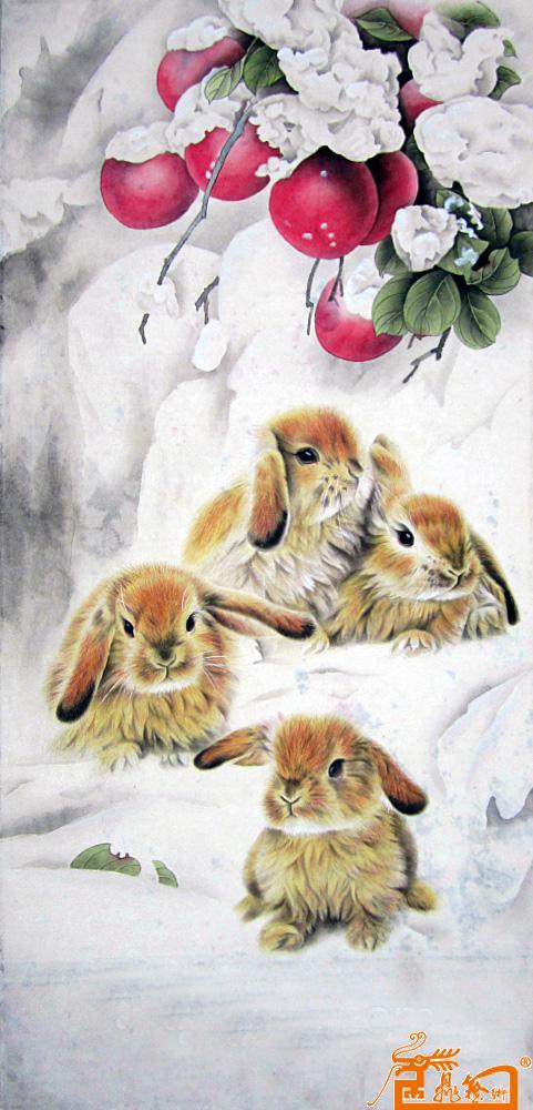 兔子苹果-左晟霖-淘宝-名人字画-中国书画服务中心,,.