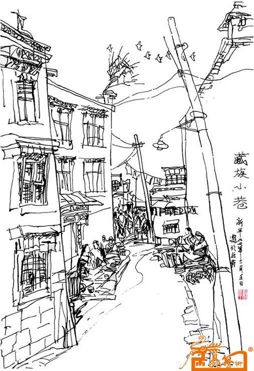 手绘小巷建筑图片高清
