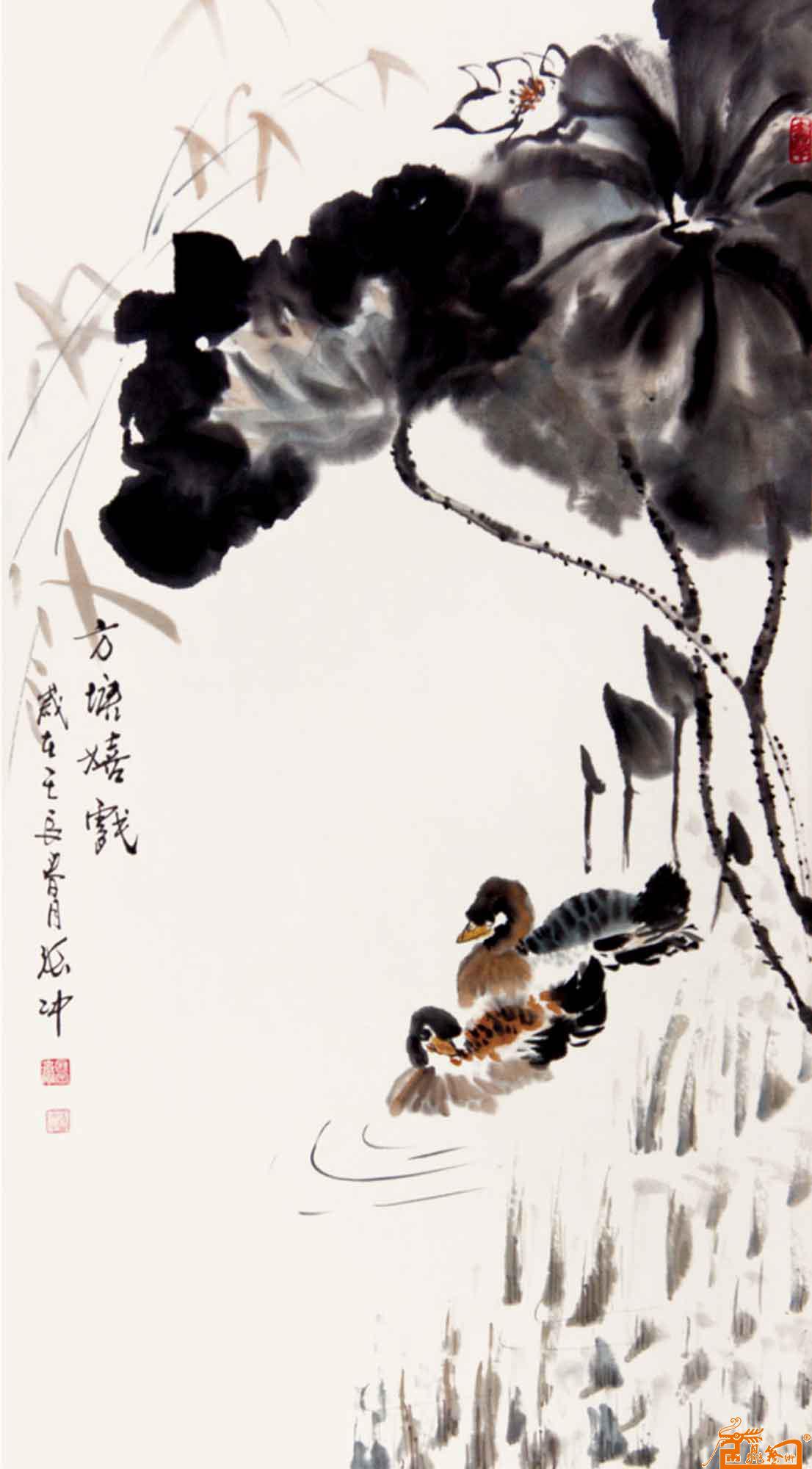 藏宝斋-作品227鸳鸯荷花-淘宝-名人字画-中国
