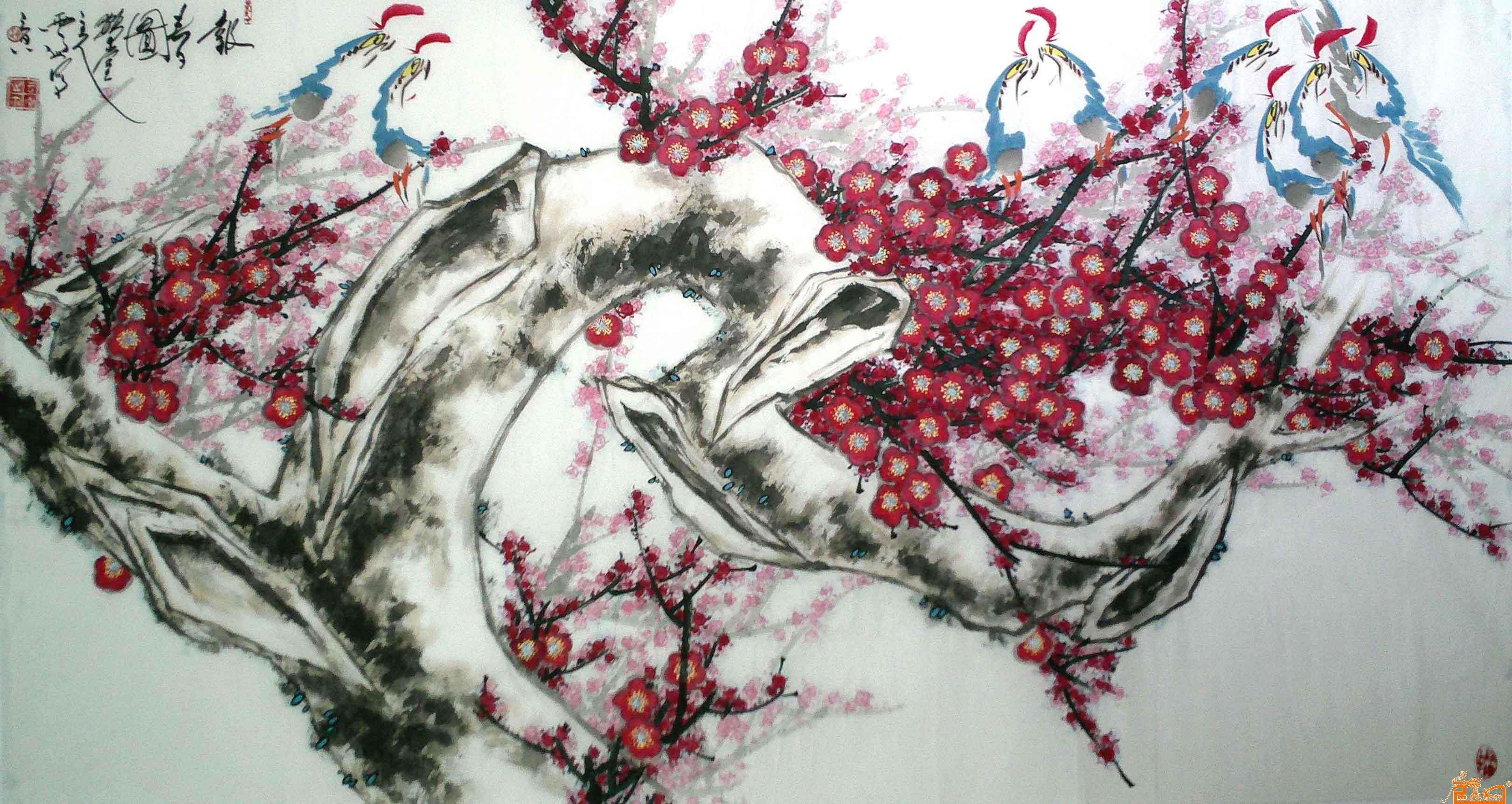 梅花鹤纹身手稿