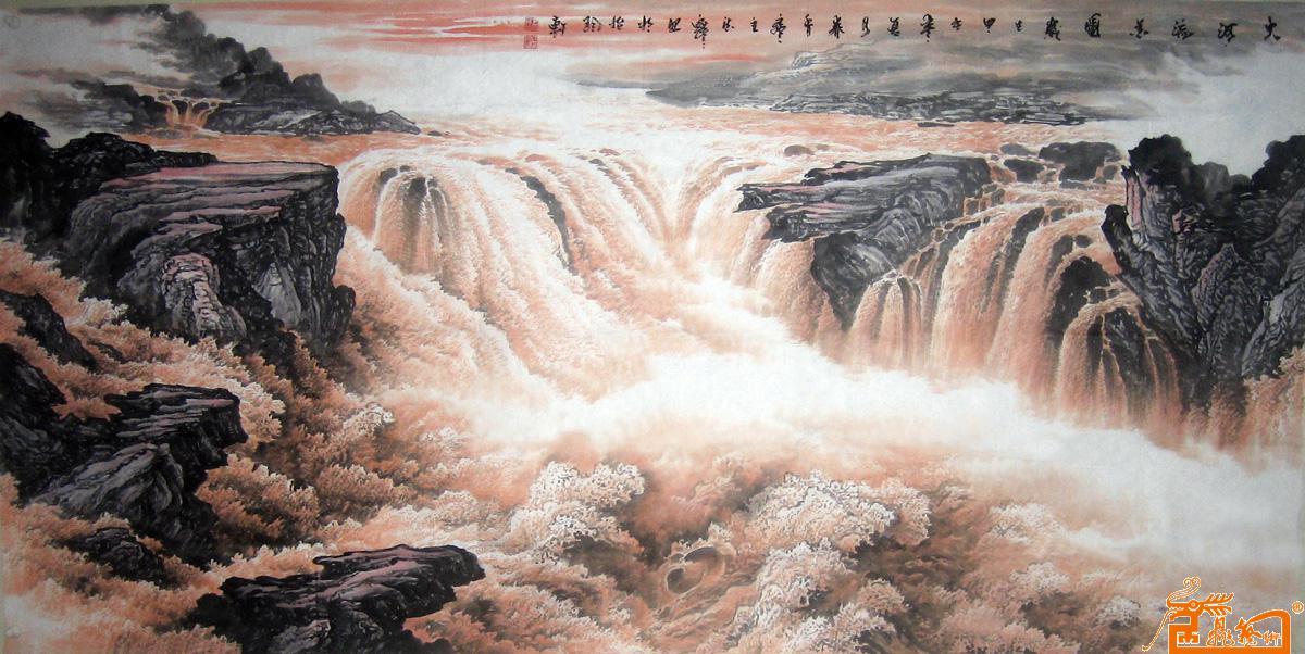 壁纸 风景 国画 旅游 瀑布 山水 桌面 1200_602