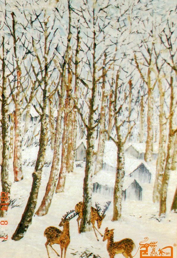 鹿与树手绘