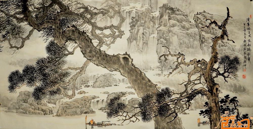 林德坤-清泉迂百丈轧松跨千年-淘宝-名人字画-